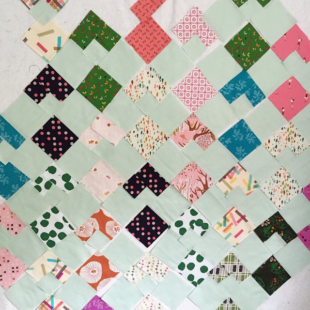 """Yep, I like you, Seafoam Green (RJR cotton couture). This quilt needs a name. Something about up, but not """"Up Yours Marie DiFalco"""" because that would be offensive to some people, but probably not @mariedifalco ��"""