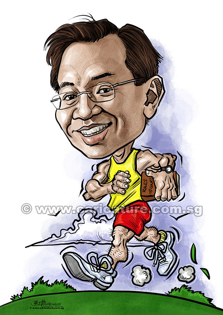 runner digital caricature (watermarked)