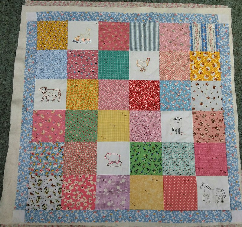 Olivia's quilt, from embroidery patterns by Alicia Paulson. Ready to be quilted.