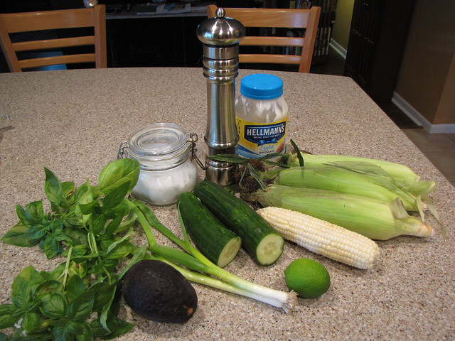 Cucumber Corn & Avocado Salad Ingredients