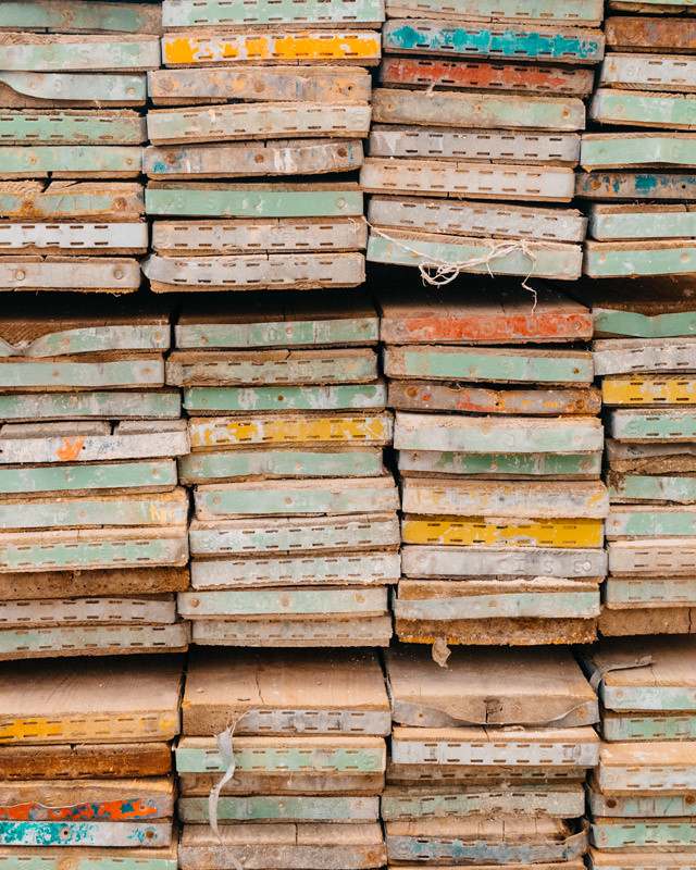 coloured ends of wooden planks