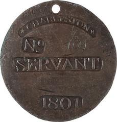 1801 Slave Hire badge - Servant
