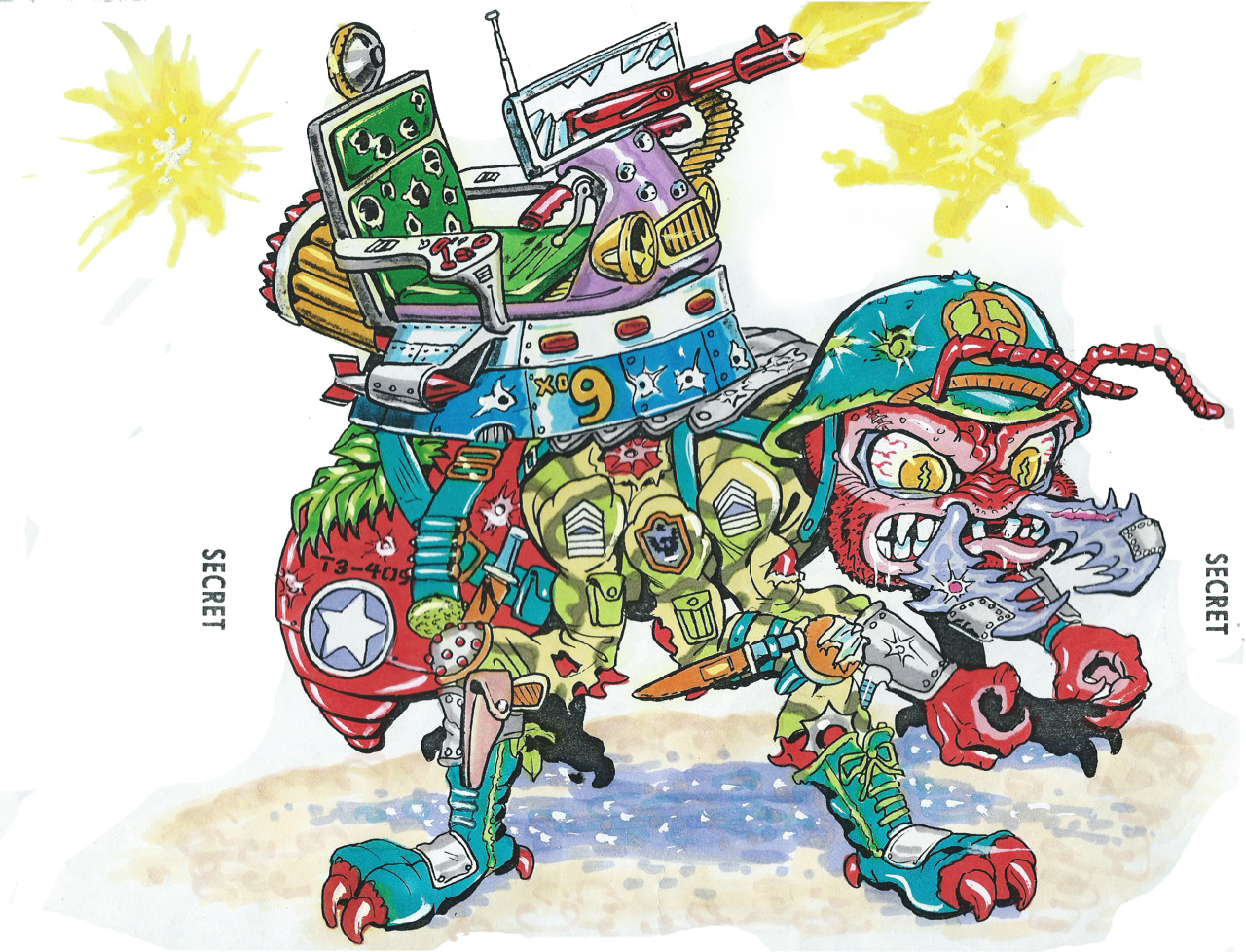"""MEGA MUTANTS"" TEENAGE MUTANT NINJA TURTLES :: ""ARMY ANT"" / ..unreleased M.M. toy - Ant design ii (( 1990 ))  [[ Art and courtesy of D. Arshawsky ]]"