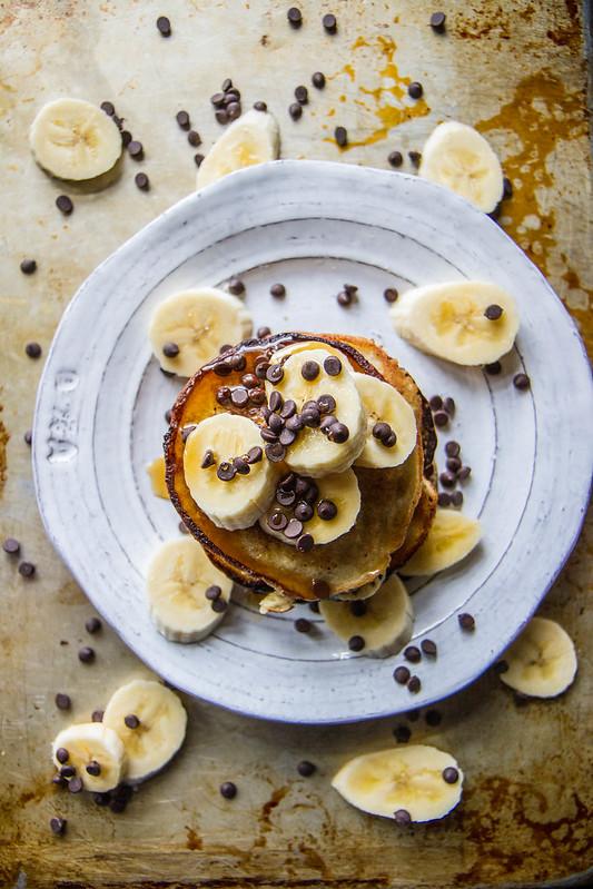 Banana Chocolate Chip Pancakes, vegan and gluten free