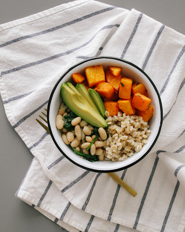 ROASTED BUTTERNUT SQUASH + BEANS & BARLEY BOWL
