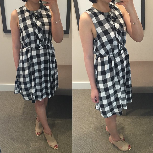 LOFT Gingham Gamine Dress, size XS regular