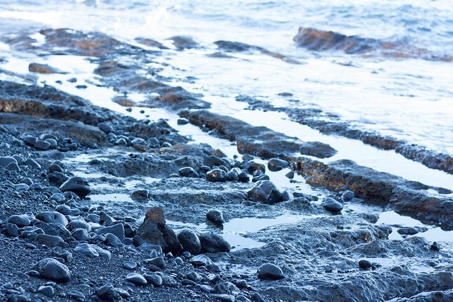 Ocean meets `A`a Lava Rocks -