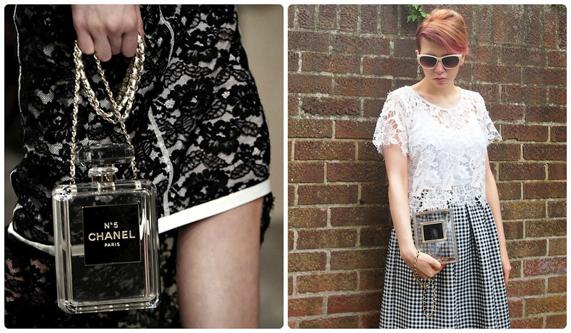 Rare London Perfume Box Bag, Clutch, Chanel, No 5, Dupe, High Street, Missguided, Monochrome, Gingham, Midi Skirt, Primark, Sheer Lace Crop Top, Vintage Style, 60s, 50s, How to Wear, Styling Inspiration, Sam Muses, UK Fashion Blog, London Style Blogger