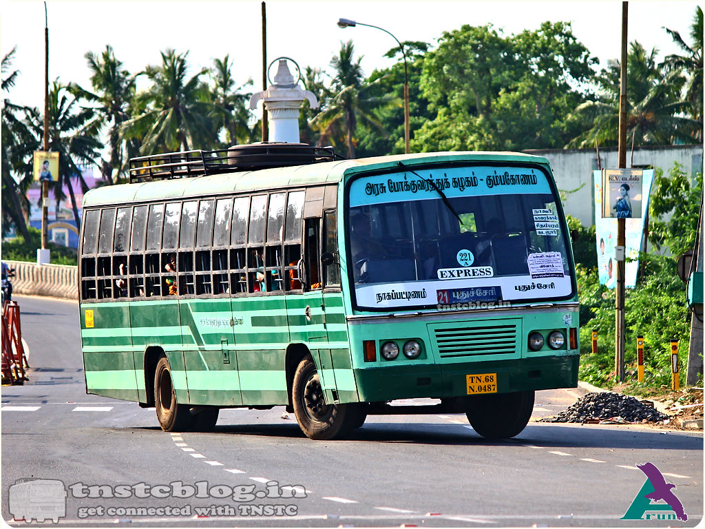 TN-68N-0487 of Karaikal Depot 221A Nagapattinam - Pondicherry via Nagore, Karaikal, Chidambaram, Cuddalore.