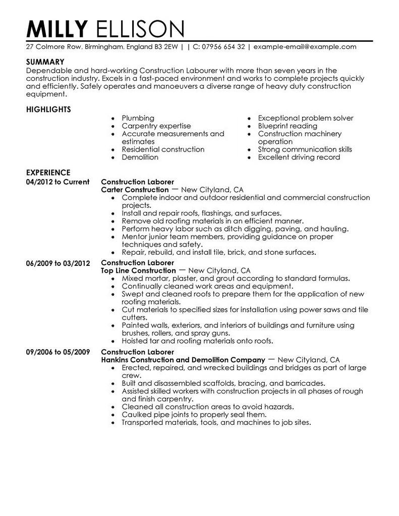 Construction Laborer Resume Example | Construction Laborer R… | Flickr