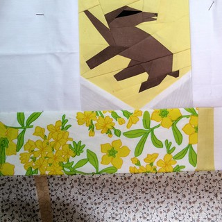 Week 19, block 2.  Because I am a Hufflepuff. Pod quilt a long.