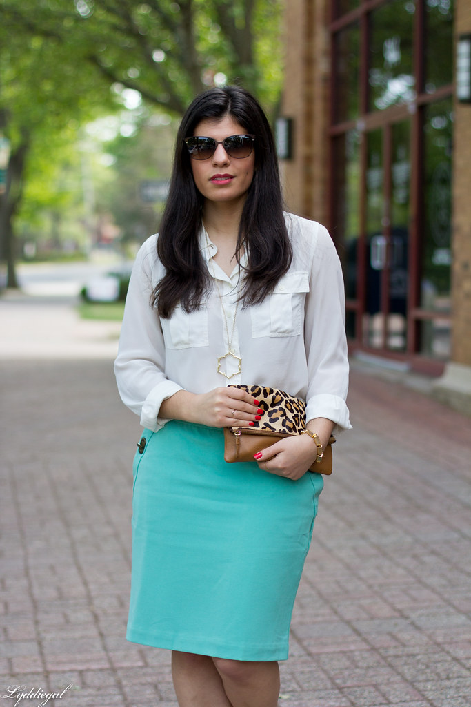 mint green pencil skirt, white blouse, leopard clutch-1.jpg