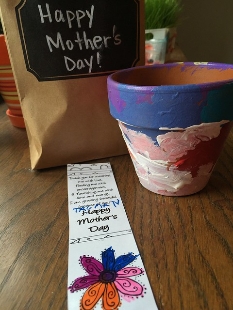 Truman's Mothers Day bookmark and flower pot