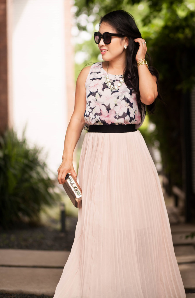 cute & little blog | petite fashion | sleeveless floral chiffon blouse, pink pleated chiffon maxi skirt, lace up sandals | spring summer outfit