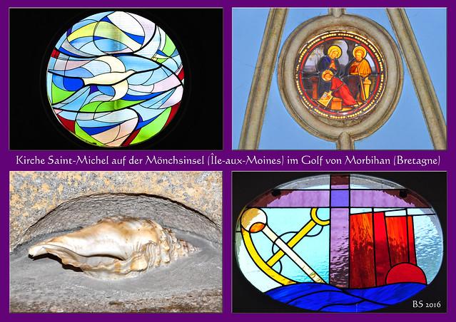 Inselkirche auf der Mönchsinsel: Église Saint-Michel de l'Île-aux-Moines (Golfe du Morbihan, Bretagne). - Foto und Collagen: Brigitte Stolle 2016