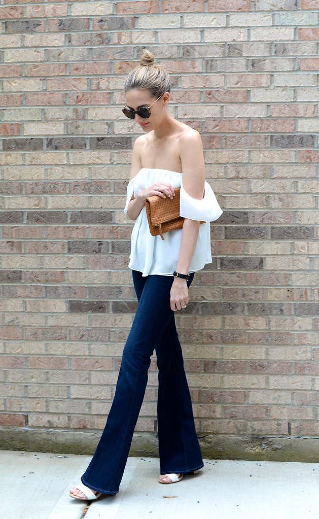 off-the-shoulder-top flare-jeans top-knot