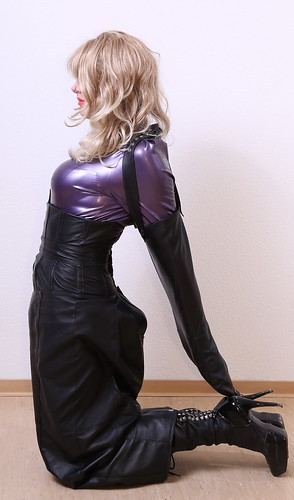 Latex Tgirl In Armbinder, Latex Blouse And Leather Hobble -6867