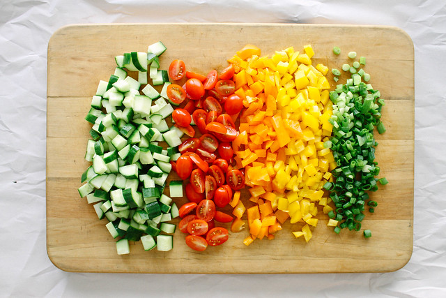 CHOPPED VEGETABLE SALAD + GARLIC DRESSING - THE SIMPLE ...