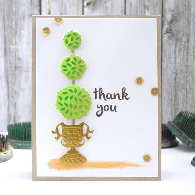 Topiary Thanks by Jennifer Ingle #justjingle #spellbinders #cards #diy