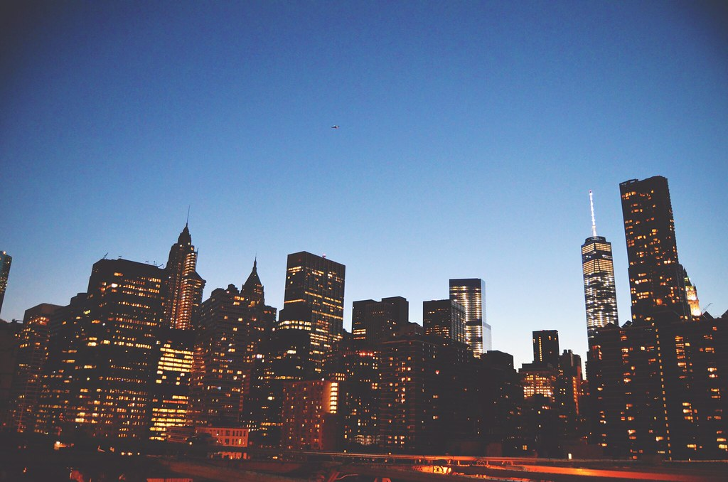 The New York skyline at nighttime | via It's Travel O'Clock