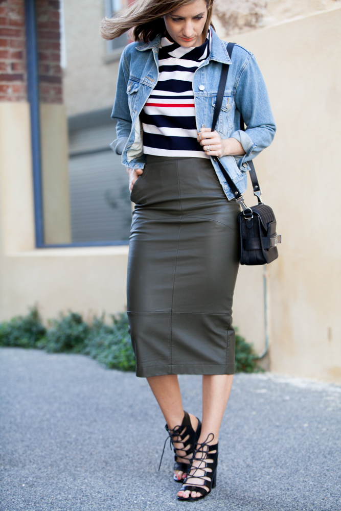Khaki pencil skirt,  Proenza Schouler PS11