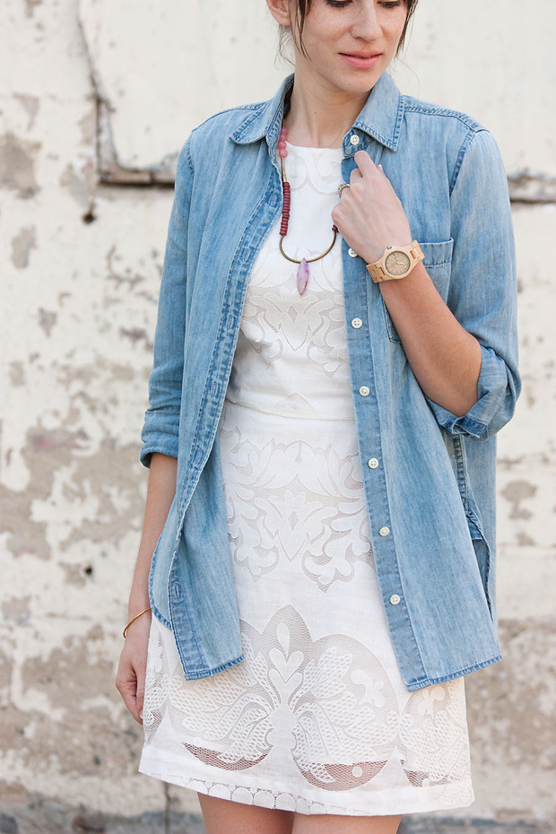 Jord Watch, J.Crew Chambray Shirt, White Lace Dress, History and Industry Necklace