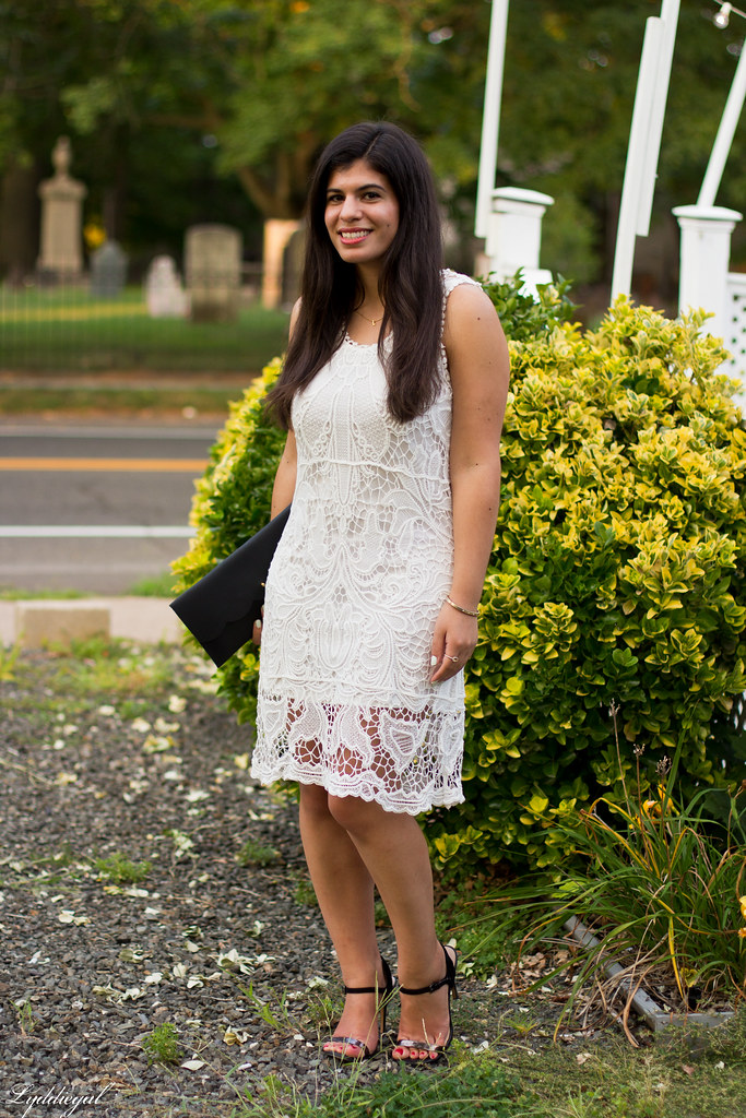 white lace dress, black scalloped clutch, strappy heels-3.jpg