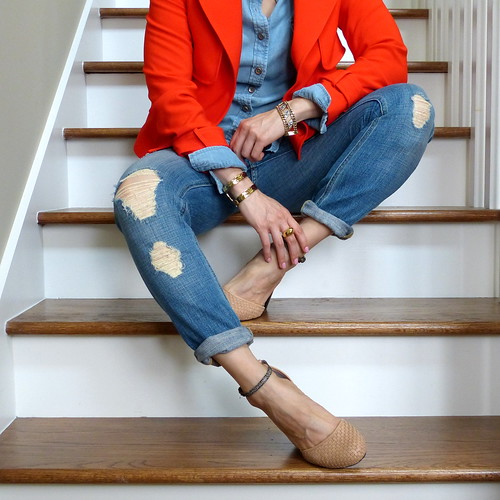 red trench, ripped jeans