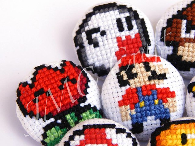 Geeky gaming cross-stitch by JMC Craft - Mario badges