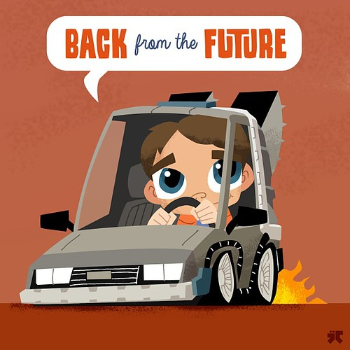 Retro Ridez by Jason Cadwell aka JayDraws - Back to the Future DeLorean