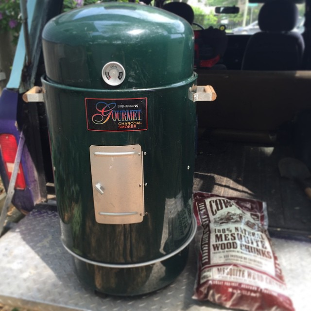 $20 yard sale steal: an unused smoker. You want to smoke up some breakfast? Done. You want to smoke up some Thanksgiving turkey? Done. #bacon #smoker #hellyeahyardsale