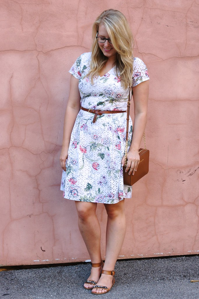 floral dress with cognac accessories