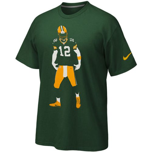 pretty nice e54e0 ad32d Green Bay Packers Aaron Rodgers Nike Silhouette T-Shirt Gr ...
