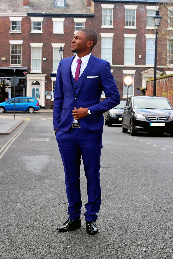 mens-three-piece-blue-suit, purple tie, Three piece suits, Men's 3 Piece Suits, 3 Piece Suits, blue suits