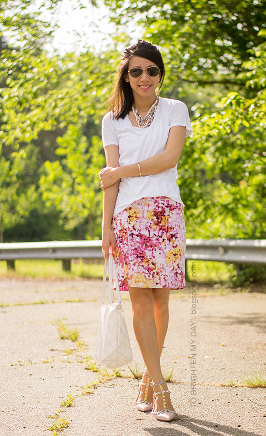 mixed metal necklace, white tee, floral skirt, watercolor cage flats