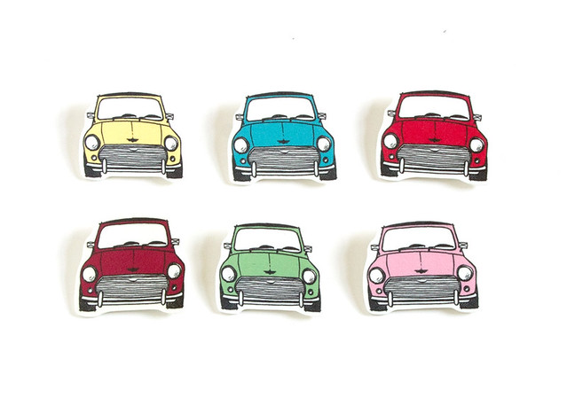 Illustrated Mini Cooper Pins by Vitamini