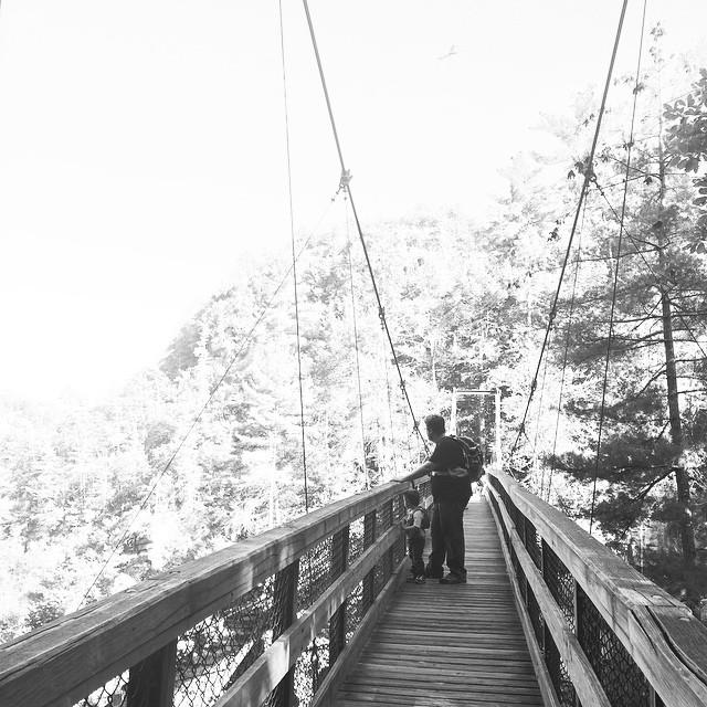 @explorerziem & Will on the #bridge. #toddler #toddlergram #toddlerlife #tallulahfalls #tallulahgorge #tallulahgorgestatepark #stateparks #discovergeorgia #exploregeorgia #georgia #igersgeorgia #igersga #nature #hiking