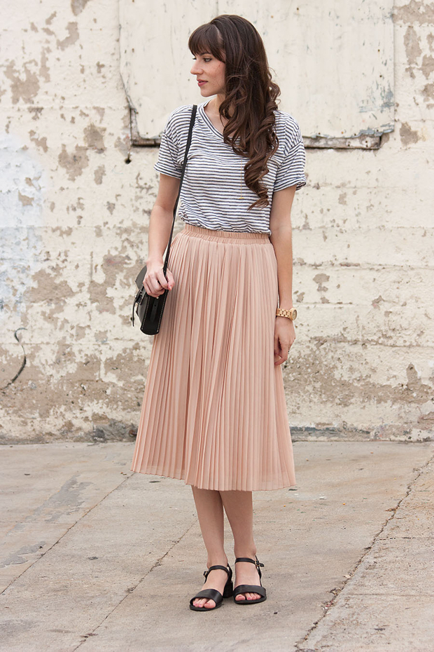 f6bbc7b8059a Blush Pleated Skirt, Striped Skirt, Jord Watch
