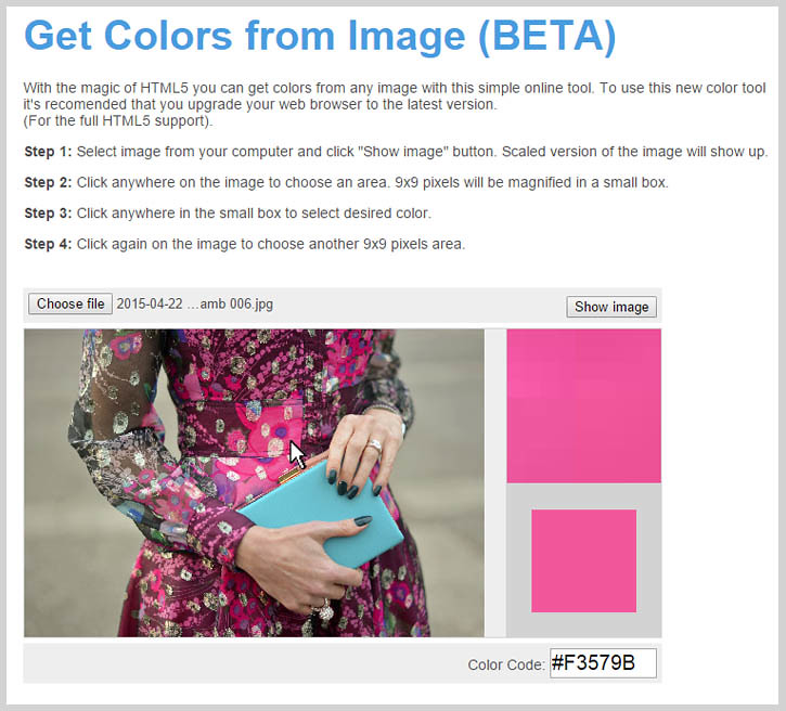 How to get HTML color codes from any image - www.html-color-codes.info