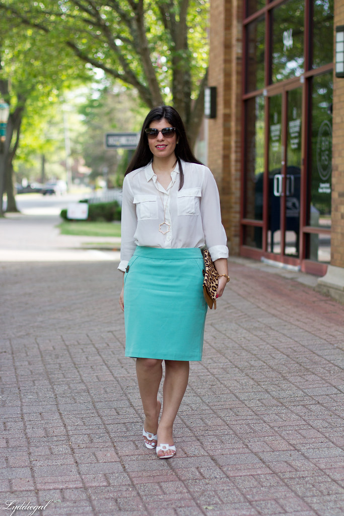 mint green pencil skirt, white blouse, leopard clutch.jpg