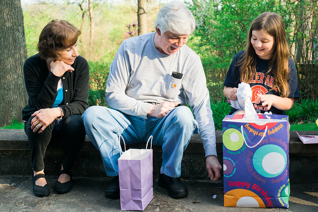 Opening presents with Grandma and Pappy.