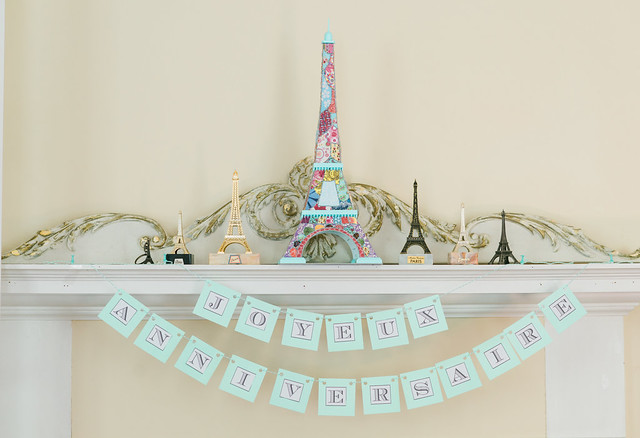 Eiffel Tower birthday mantel.
