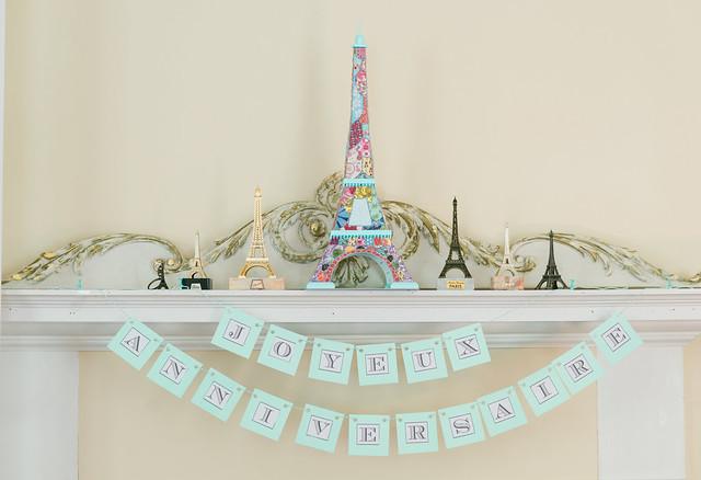 Eiffel Tower birthday mantel.