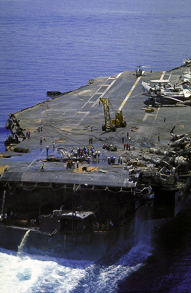 1967 Repair Crews Working To Fix The Damaged Deck Of The