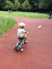 代々木公園で補助輪付き自転車乗るとらちゃん 2015/6/7