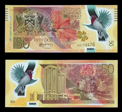 50 Dollar polymer Trinidad and Tobago banknote