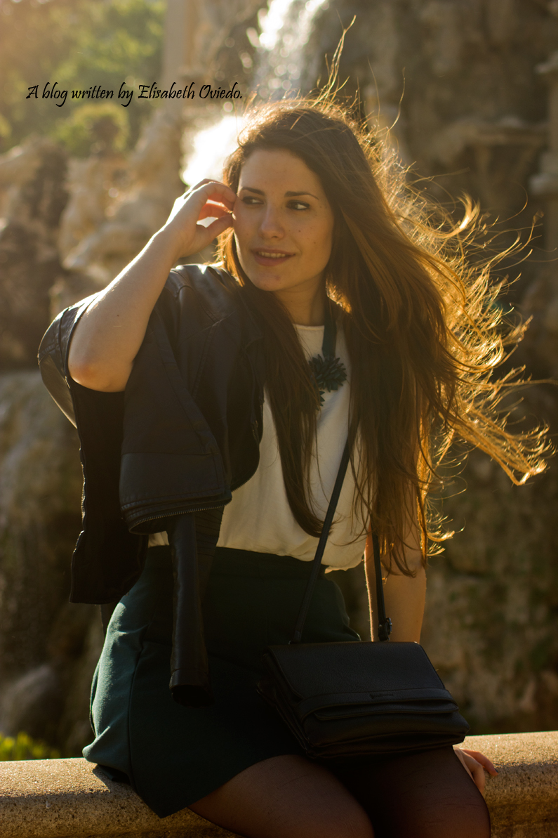 falda verde chaqueta cuero INDITEX STRADIVARIUS HEELSANDROSES (6)