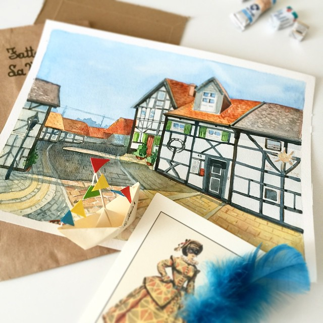 Herten Altes Dorf, watercolor White nights on Canson Montval paper 300g/m2