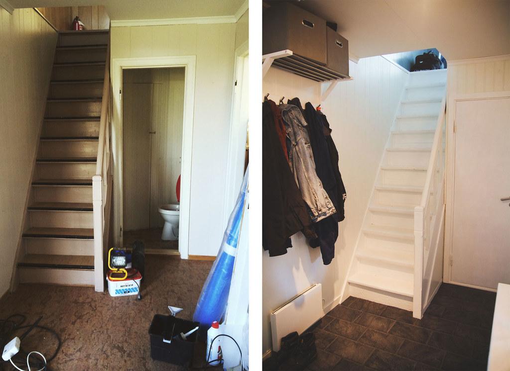 Gangen, 1. etasje (før og etter)