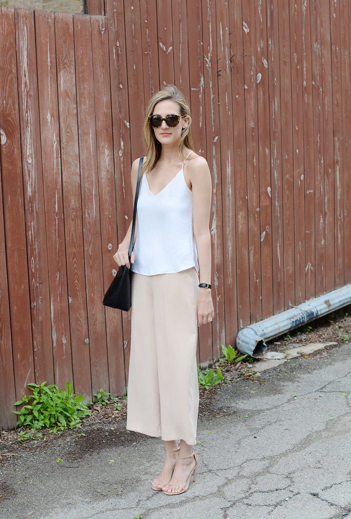 theory sprinza pants outfit, nude culottes